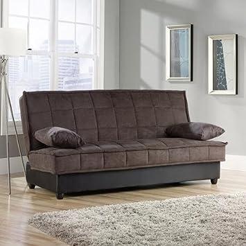 Sleeping Sleeper Comfortable Convertible Modern Sofa, Chocolate Color  Bayshore Sauder For The Living Room And