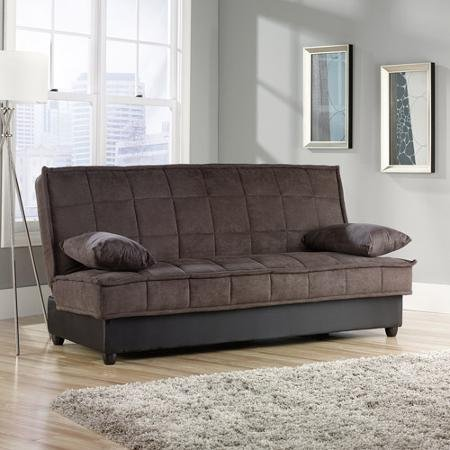 Wear & Stain Resistant Soft microfiber Convertible Sofa, Chocolate