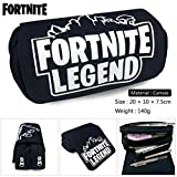 EOLIURR 1 Pcs Newest Black Fortnite Legend Large Big Capacity Canvas Double Zipper Pen Bag Pencil Case Game Cosmetic Makeup Pouch Stationery Office School Supplies Holder Set