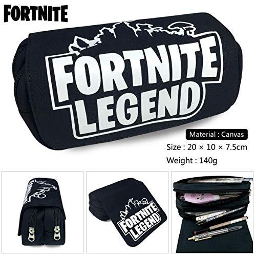 EOLIURR 1 Pcs Newest Black Fortnite Legend Large Big Capacity Canvas Double Zipper Pen Bag Pencil Case Game Cosmetic Makeup Pouch Stationery Office School Supplies Holder Set