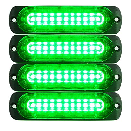 Primelux 4-Pack 4.4-Inch 10 LED Ultra Slim Strobe LED Lighthead External Emergency Grille Surface Mounting Lights(Green)