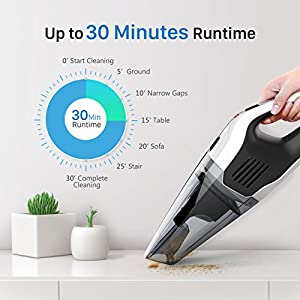 HoLife Handheld Vacuum Cordless, Rechargeable Hand Vac Cordless Car Vacuum Cleaner 14.8V 100W Lightweight Portable Vacuum Wet Dry for Home and Car Cleaning (with 2 Washable Filters)