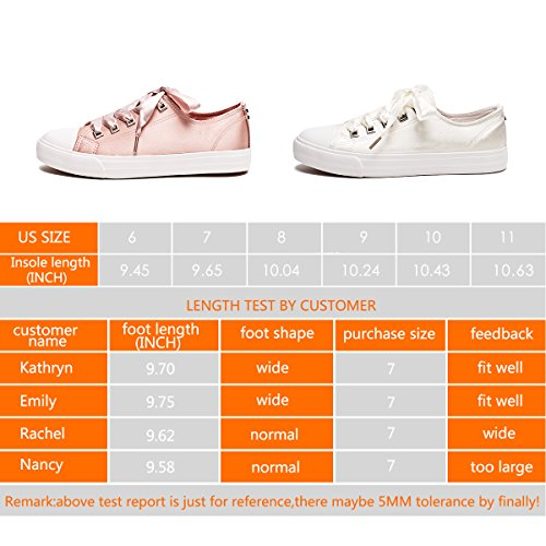 Pictures of ZGR Womens Fashion Canvas Sneaker Low Cut Pink 9 M US 2