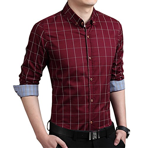 LOCALMODE Men's 100% Cotton Long Sleeve Plaid Slim Fit Button Down Dress Shirt,Wine Red,X-Large