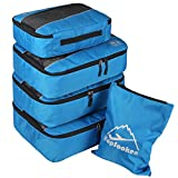 5pc Packing Cubes Set Large Travel Luggage Organizer 4 Cubes 1 Laundry Pouch Bag(Blue)