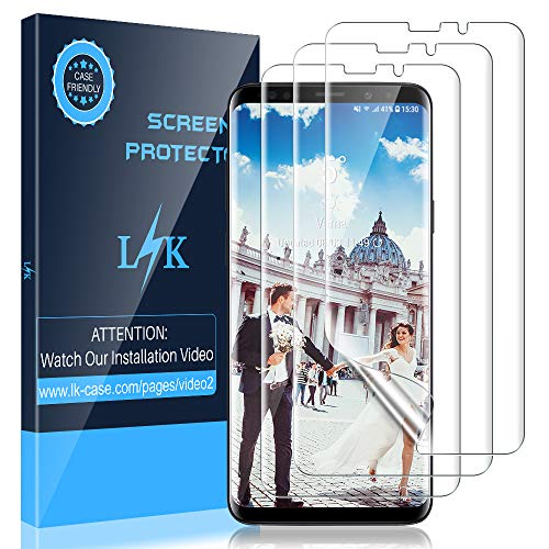 LK [3 Pack] Screen Protector for Samsung Galaxy S9, [New Version] [Full  Coverage] [Case Friendly] HD Clear Flexible Film with Lifetime Replacement