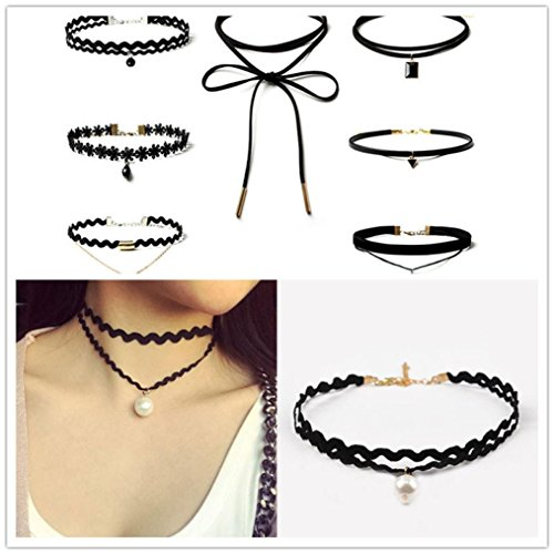 (Clearance Deals 8 Pieces Choker Necklace Set Stretch Velvet Classic Gothic Tattoo Lace Choker By Kstare (Black))