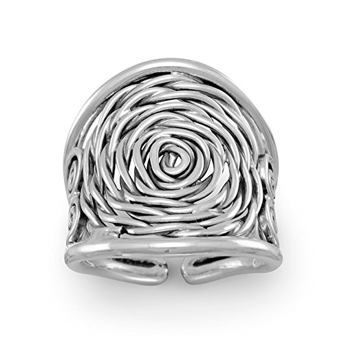 Price comparison product image Oxidized Sterling Silver Coil Ring 23mm Across Top - Size 7