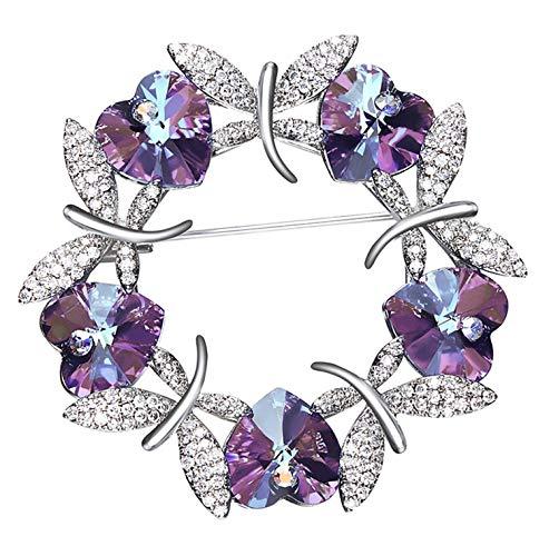 Gnzoe - Women Ladies Alloy Brooch Pin Wreath Heart Dragonfly Brooches Purple ()