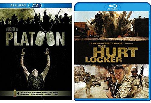 Hurt Locker & Platoon Blu Ray War Courage Movie Bundle Set