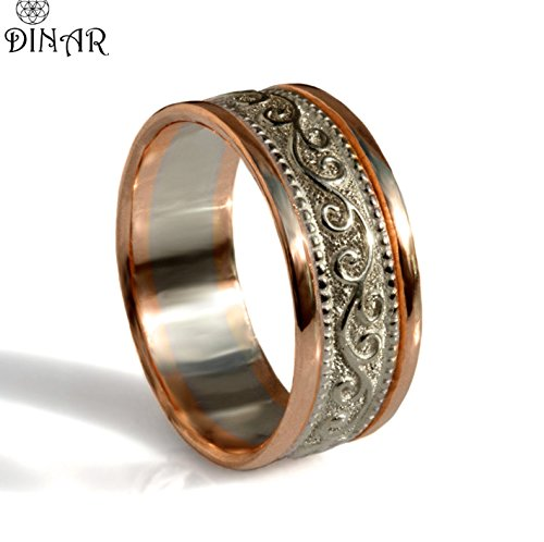 (Silver and rose gold band, solid 14k gold and silver Wide Wedding Band, Art Deco pattern, mens gold band, hand engraved scrolls and Milgrain)