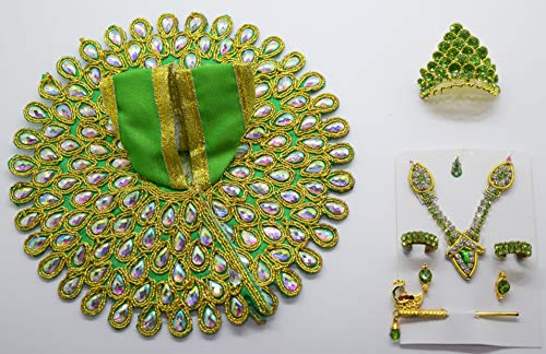 Handmade Green Colour Bal Krishna Dress and Ornaments for 2 To 4 Inches Laddu Gopal Idol