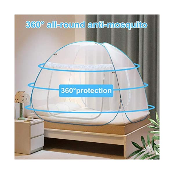 Adofo Foldable Mosquito Net Double Bed + King Size + Queen Size - for Baby, Kids Adult Protection (White Net) 2021 August ♥♥ ENJOY AN ELEGANT SLEEP : Make your room a pleasant space where you and your loved ones can sleep peacefully without DISTURBANCE from mosquitoes or even small flies. It pops ups automatically, ready to use on bed (no requirement of nails or rods to hang) ♥♥ A NATURAL PROTECTIVE ENVIRONMENT FOR FAMILY : Stay away from inhaling harmful mosquito repellants now. 100% air Ventilation inside with 0 % mosquito entrance. It also has 9 inch extra cloth attached at the bottom on all 4 sides for maximum protection and 4 elastics attached on all the four corners for better fitting and gripping on the bed ♥♥ ONE PRODUCT COUNTLESS FEATURES : Strong PVC coated steel frames for Long life, High density polyester net fabric, two window large gates having quality zips on both inside and outside for EASY entry and exit MAKES this mosquito net most loveable in the category.