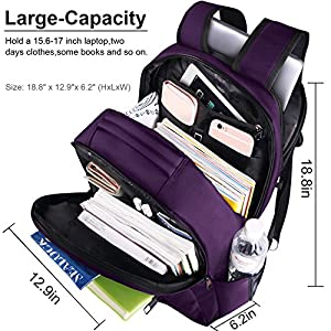 LAPACKER 15.6 - 17 inch Water Resistant Business Computer Backpacks for Women Mens Laptop Travel Bag Lightweight College students Notebook Laptop Backpack - Purple