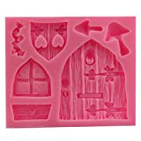 Vintage Cabin Door Window Silicone Mold Fondant Cake Decorative Baking Tool - Pink