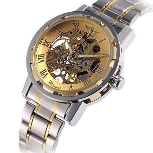 Men Wrist Watch, Winhurn Hollow Skeleton Automatic Mechanical Stainless Steel (Gold)