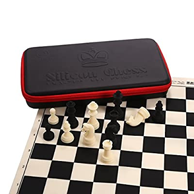 Chess Set Combo in Deluxe Storage Bag Silicone Material Club Style for Kids Adults