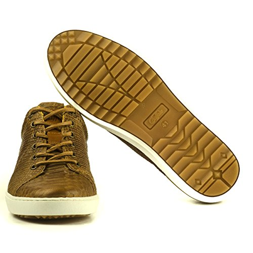 Buffalo Herren ES 30738 Schuhe Sneakers Leder Schnürer Reptiloptik Braun 02