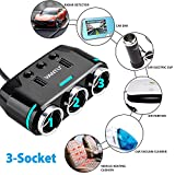 Sunjoyco 3-Socket Cigarette Lighter Adapter,100W