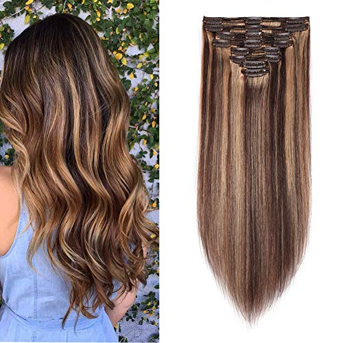 Double Weft 100% Remy Human Hair Clip in Extensions Highlight 14''-22'' Grade 7A Quality Full Head Thick Long Soft Silky Straight 8pcs 18clips (16