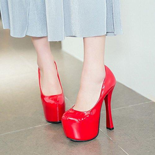Mee Shoes Damen high hees inner Plateau runde Pumps Rot