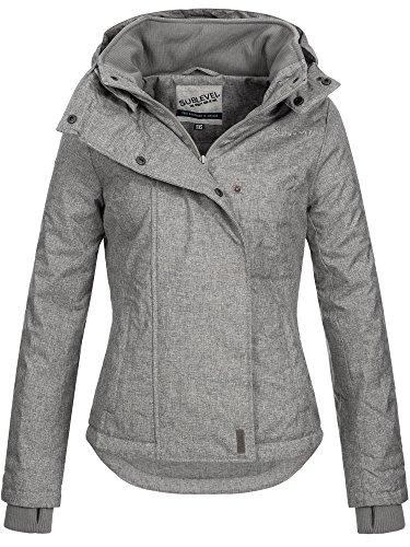 SUBLEVEL Damen Zipper Jacke mit Kapuze Steppjacke Stepp Winterjacke Jacke Damenjacke pencil grey M