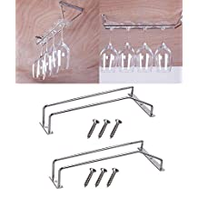 Stemware Glass Rack and Hook Under Cabinet, Wine Glass Hanger Storage 2 Pack Stemware Holder Stainless Steel Wall-Mounted for Bar, Club, Home