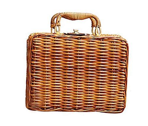Rattan Vintage (GETUPP Vintage Rattan Handbag Handmade Tote Weave Purse Straw Beach Bag for Women)