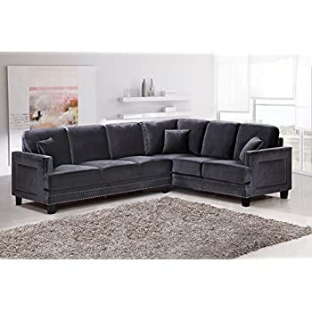 Amazon Meridian Furniture 655GRY Sectional Ferrara Velvet