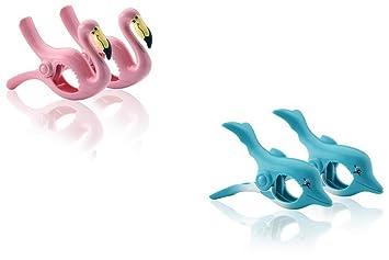 Boca clips - Pinzas para toalla de playa (2 pares), diseño de flamencos y delfines: Amazon.es: Jardín