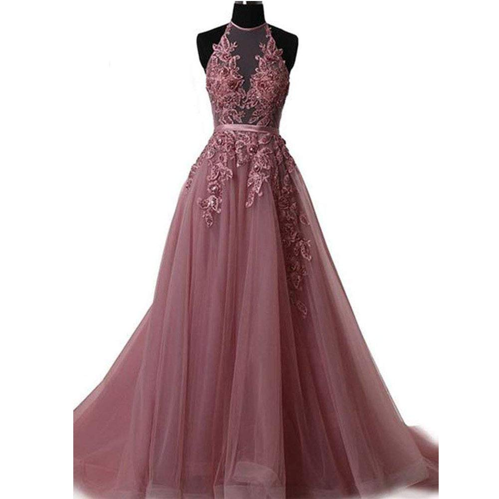 Plum XKYU Women's Lace Appliques Halter Prom Dresses Backless Formal Evening Party Gowns