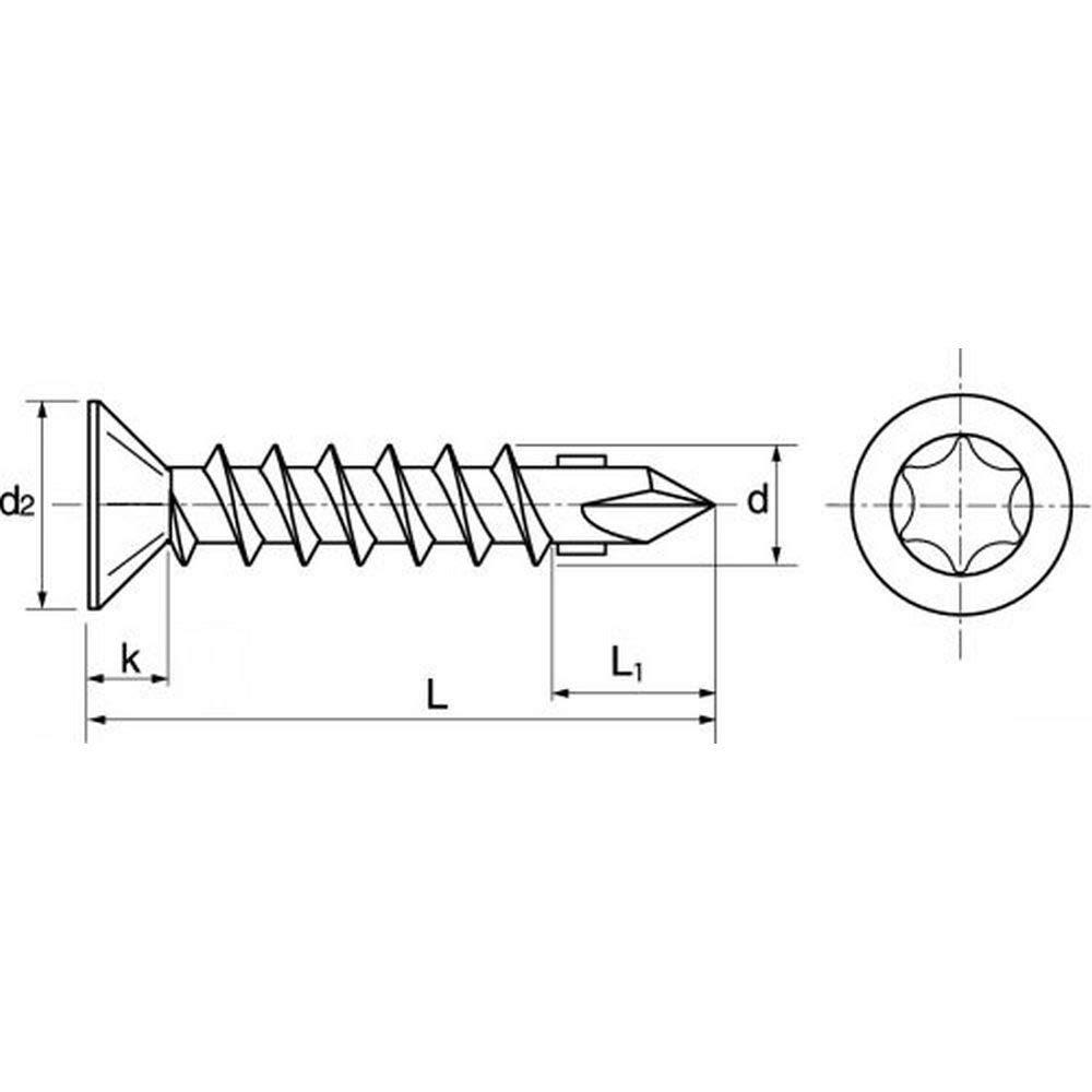 100 Stk Fl/ügelbohrschrauben Senkkopf Torx 6.3x70 Stahl wei/ß verzinkt