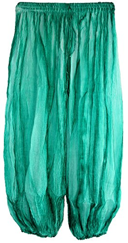 Highwaypay Gauze Indian Cotton Crinkled Bohemian Tie-Dye Harem Gypsy Pants (Aqua-Green) 2715