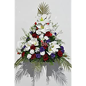 Gorgeous Artificial White Amaryllis Church Display with Red and Purple Roses 51