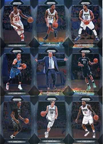 (2017-18 Panini Prizm Basketball Minnesota Timberwolves Veteran Team Set of 9 Cards: Andrew Wiggins(#81), Karl-Anthony Towns(#82), Jeff Teague(#83), Jimmy Butler(#84), Jamal Crawford(#86), plus more)
