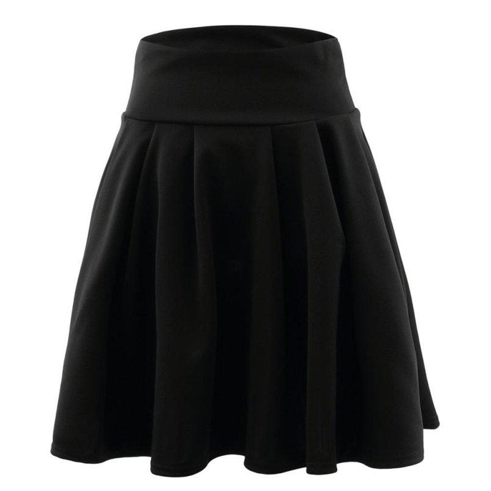 lokp WomensCocktail Mini Skirt Ladies High Waist Pleated Skater Skirt Saia Midi Black M