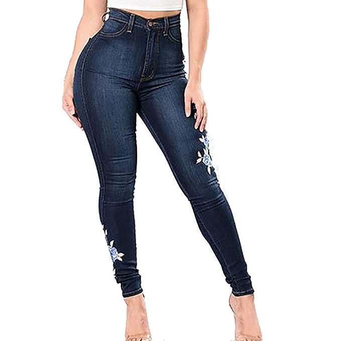 GUCIStyle Cintura Alta Pantalones Jeans Mujer Elástico ...