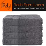 FreshFromLoom Towels Premium Bath Towels - 4 Pack Towel Set - (27x54 Bath Towels) - 100% Ring-Spun Cotton Towels for Home, Hotel and Spa (Grey)