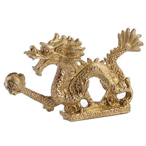 Redxiao Brass Dragon Statue, Chinese Antique Style Beautiful Exquisite for Friends Collection Gift Dragon Ornament