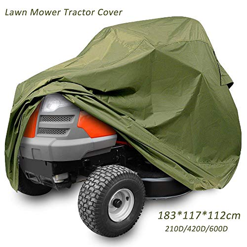 RIYIFER Lawn Mower Tractor Cover, 210D Waterproof Tear Resistant Oxford Cloth Durable All Weather Outdoor Protection Includes Carry Bag(Green),600d,183117112CM
