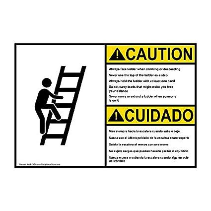 compliancesigns plástico ANSI precaución siempre cara escalera seguridad bilingüe Sign, con texto en inglés y español y símbolo de 10 x 7 cm, color blanco: Amazon.es: Amazon.es