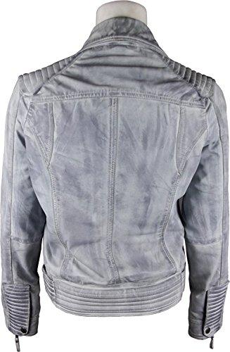 UNICORN Femmes Mode Biker le Style - Réel cuir veste - Cirée Gris #GM