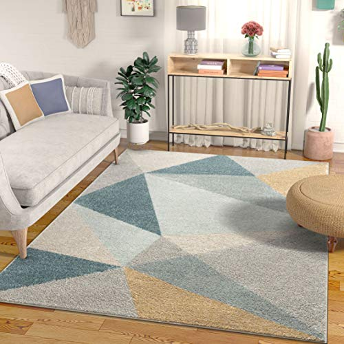 """Well Woven Easton Modern Abstract Geometric Triangles Blue, Gold & Grey Area Rug 5x7 (5'3"""" x 7'3"""")"""
