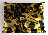 Lunarable Poker Tournament Pillow Sham, Gold and Black Poker Chips in Gambling Club Currency Stack Wager Print, Decorative Standard King Size Printed Pillowcase, 36 X 20 inches, Gold Black