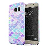 Glitbit Compatible with Samsung Galaxy S7 Edge Case Mermaid Fish Scales Pattern Mythical Princess Queen Siren Holographic Aesthetic Glitter Thin Design Durable Hard Shell Plastic Protective Case Cover