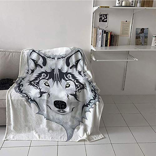 Khaki home Children's Blanket Digital Printing Lightweight Thermal Blankets (35 by 60 Inch,Tattoo Decor,Astonishing Big Cat Famous Symbol of The Courage Leopard Head with Spots,White and Black]()