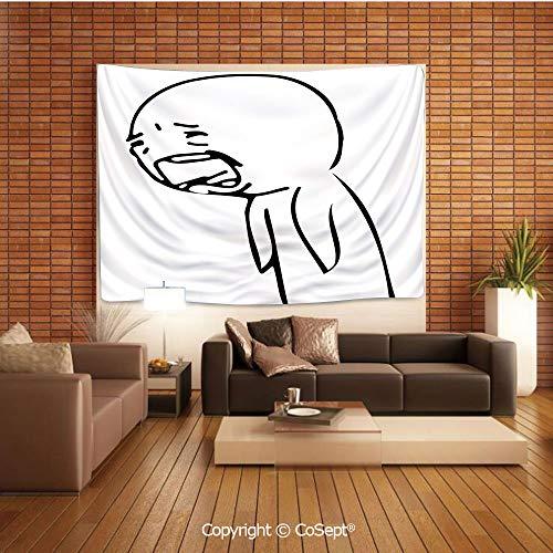 PUTIEN Natural Luxury Tapestry,Sad Guy Upset Crying Popular Rage Comic Generator Style Online Emoji Print,Tapestry Art Print Tapestry for RoomBlack White