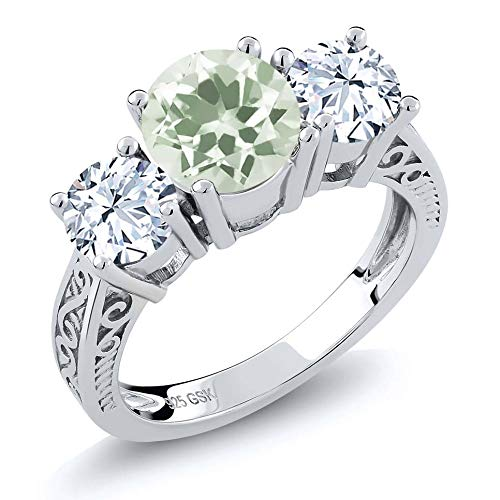 Gem Stone King 2.60 Ct Round Green Prasiolite 925 Sterling Silver 3-Stone Women's Ring (Available in size 5, 6, 7, 8, 9) ()