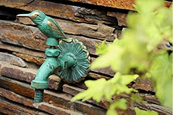 Greenspring Bird Decorative Solid Brass Garden Outdoor Faucet   With A Set  Of Brass Quick Connecter