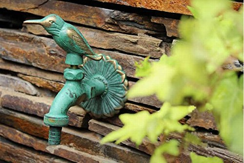 Decorative Outdoor Faucet (Greenspring Bird Decorative Solid Brass Garden Outdoor Faucet - With a Set of Brass Quick Connecter for 1/2
